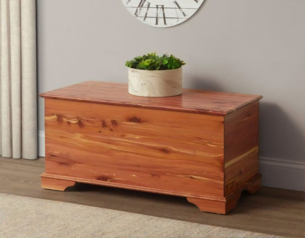 a stunning cedar chest used as resilent storage