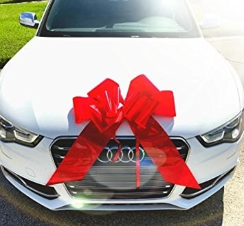 a very expensive wedding gift of a brand new car with a red bow