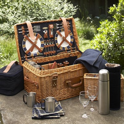 fully supplied expensive wedding gift picnic basket set
