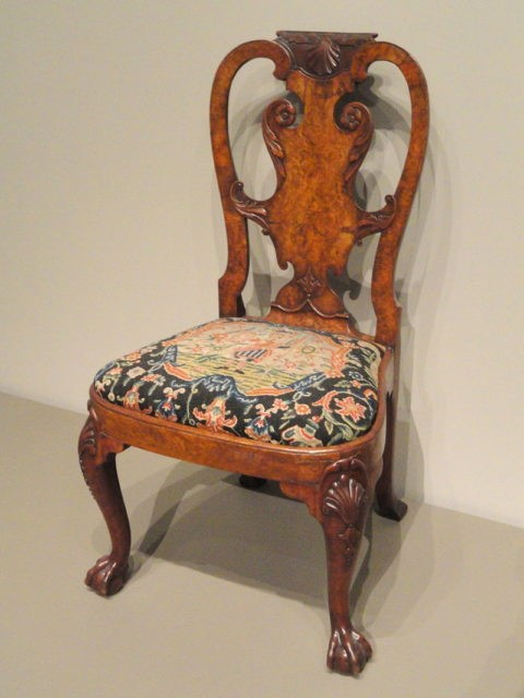 A Beautiful Old Antique Chair With Vintage Designed Pillow