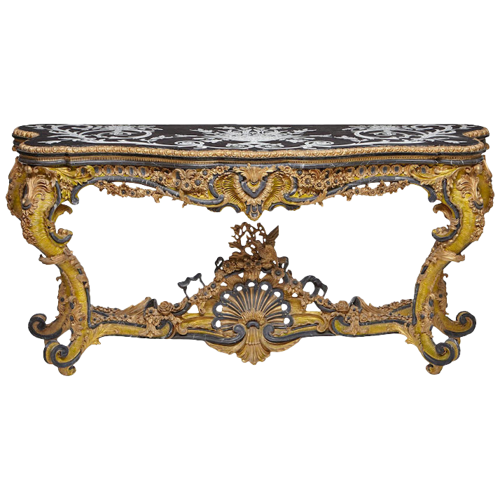 A Valuable Gold Colored Old Coffee Table With A Vintage Design Which Has Some Black Tones In It