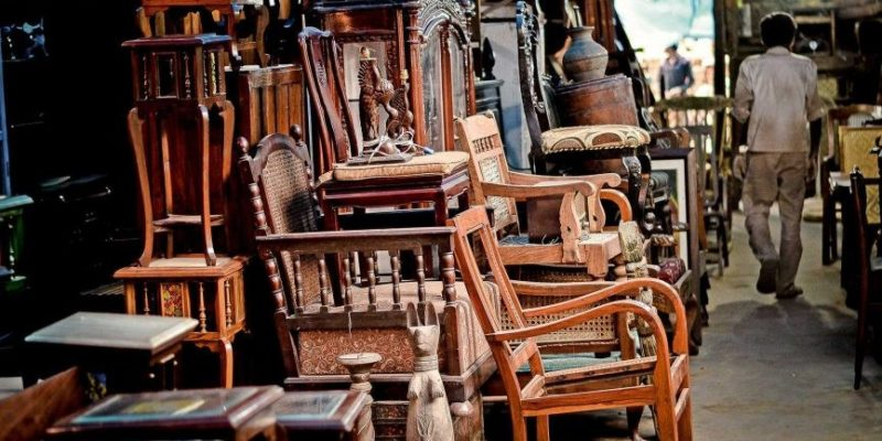 Valuable Old Vintage Chairs on an Antique Store