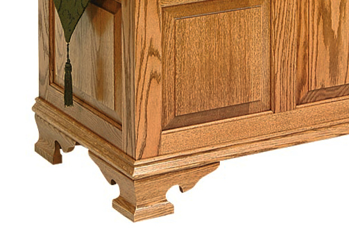 ogee feet and moulding in raised panel vintage chest