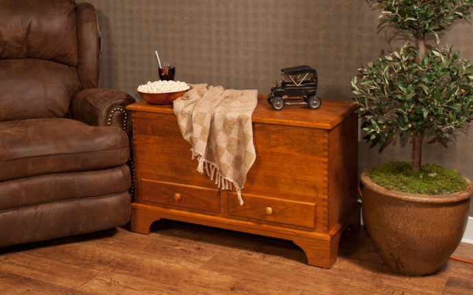 carriage house deep storage chest with shaker base in cherry wood