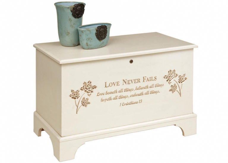 savannah deep storage chest in painted maple with engraved chest front design