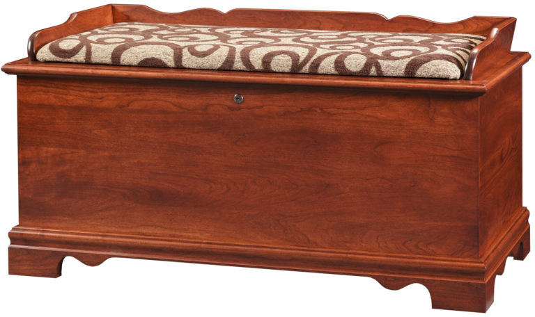 large storage chest bench in cherry wood