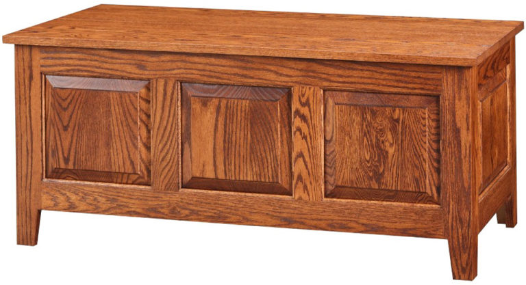 3 panel shaker style trunk in oak wood with harvest stain