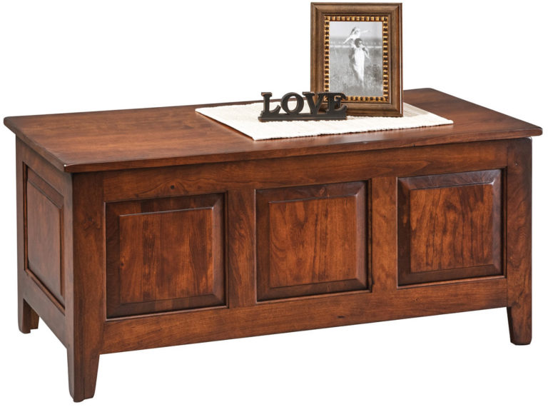 3 panel shakery style chest in cherry wood with michaels stain and old world distressing