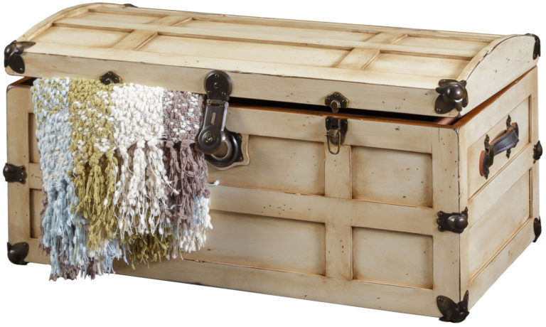 distressed steamer trunk in pearl white paint and parchment glaze
