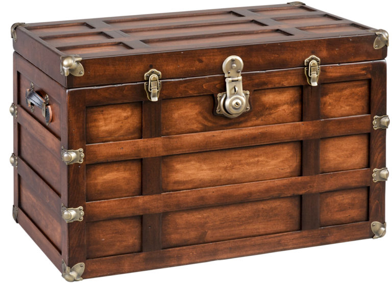 tall plymouth steamer trunk tall shown in coffee stain with optional old world distressing