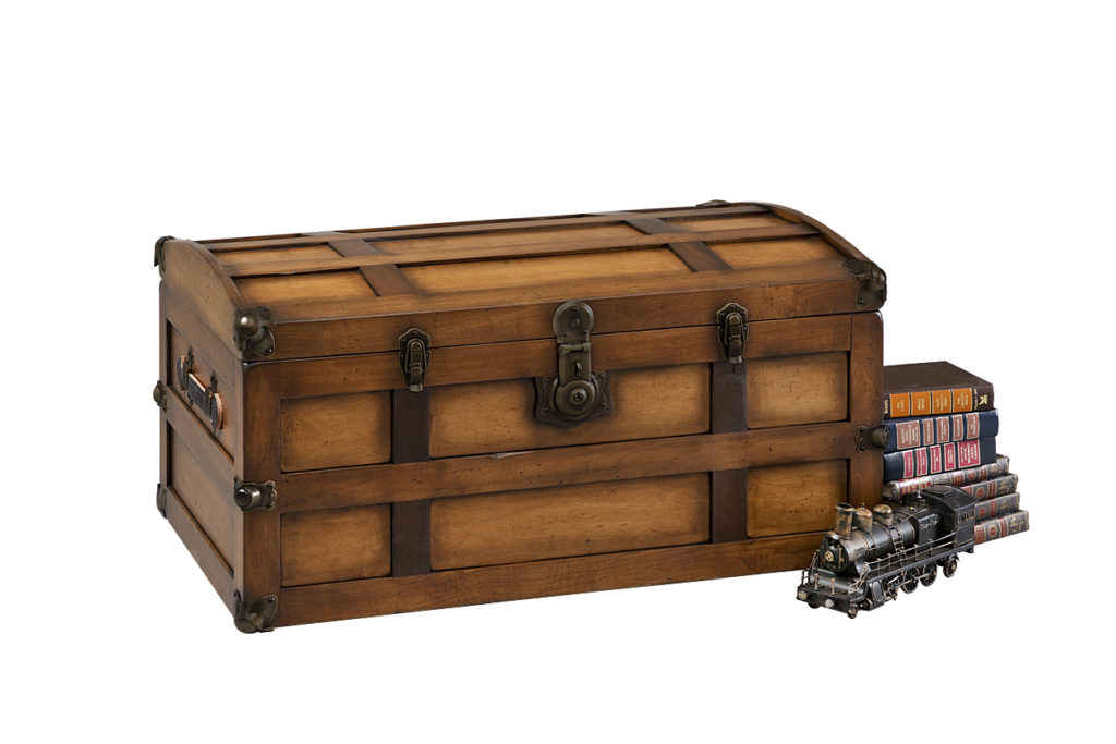 steamer trunk chest with toy train