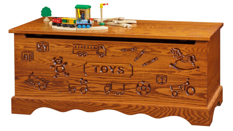 kids toy chest featuring engraved front