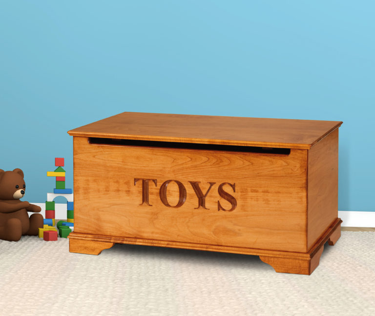 maple kids toy box with engraved front