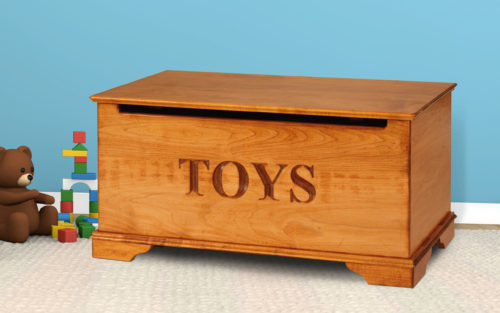 kids toy chest maple with engraved front